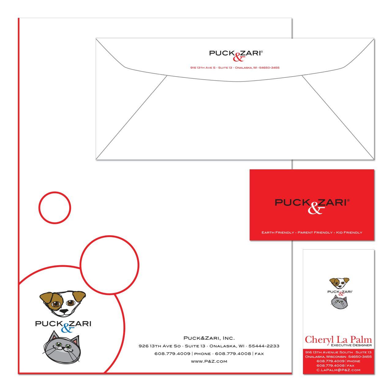 2001 | Puck & Zari | logo, business card, letterhead, envelope