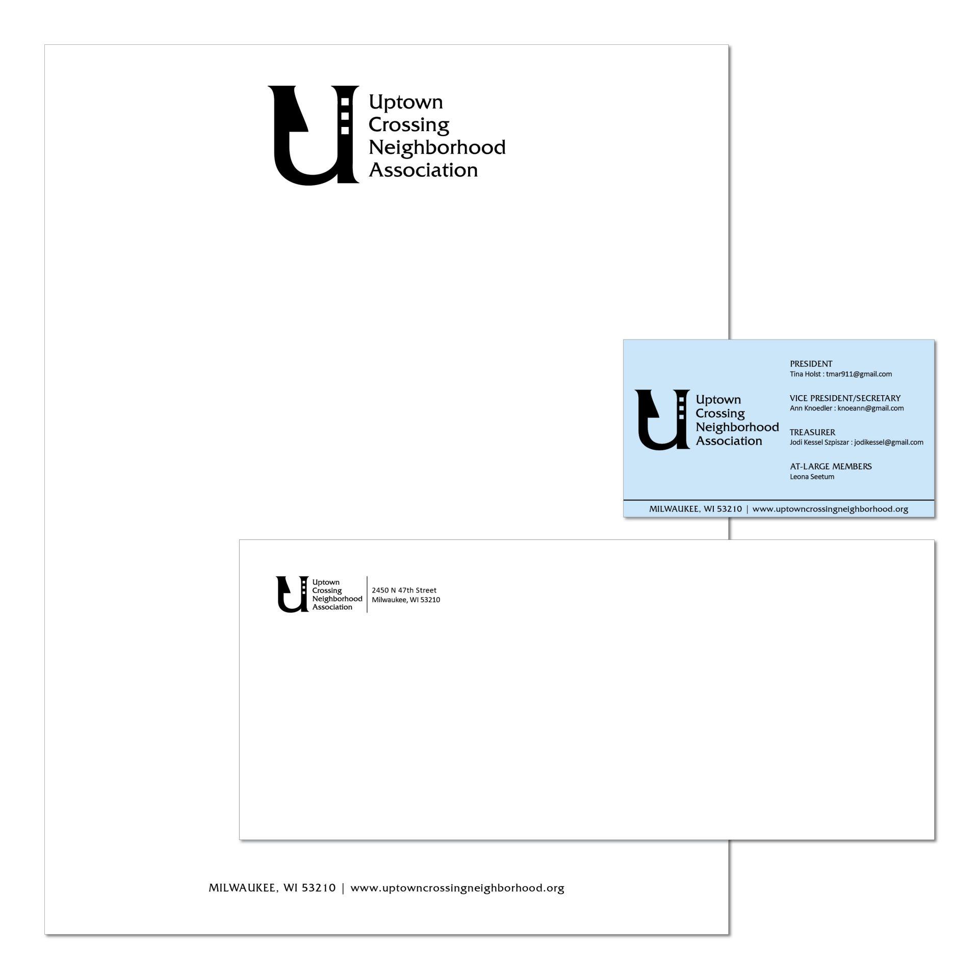 2017 | Uptown Crossing Neighborhood Association | logo, business card, letterhead, envelope